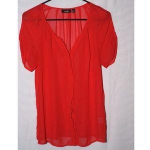 Sheer red button up shirt